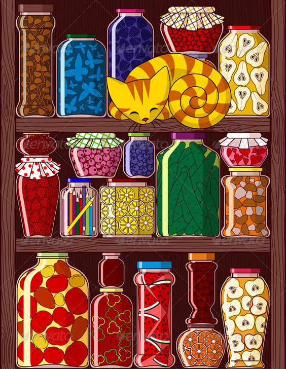 Shelves with Jars  #GraphicRiver         Illustration of shelves with different jars with preserved, fruits, vegetables and berries.     Created: 11July13 GraphicsFilesIncluded: VectorEPS Layered: No MinimumAdobeCSVersion: CS Tags: apple #autumn #berry #blackberry #cat #cherry #cranberry #cucumber #currant #design #fruit #glass #heart #illustration #jar #lemon #mushroom #orange #pear #pepper #preserves #raspberry #shelf #sleeping #strawberry #tomato #vector #vegetable #watermelon #wood