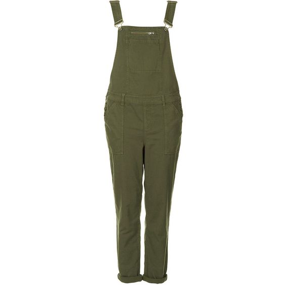 TOPSHOP Khaki Washed Dungaree ($38) ❤ liked on Polyvore featuring jumpsuits, playsuit, khaki, topshop, jumpsuits & rompers, playsuit jumpsuit, jump suit, playsuit romper and khaki jumpsuit