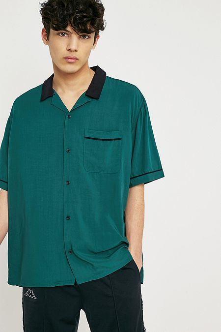 UO Liam Teal Bowling Shirt