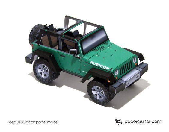 Jeep JK Rubicon paper model | http://papercruiser.com/downloads/jeep-rubicon-jk-open-top/
