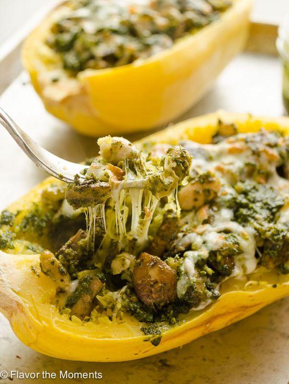 Pesto Vegetarian Spaghetti Squash Boats