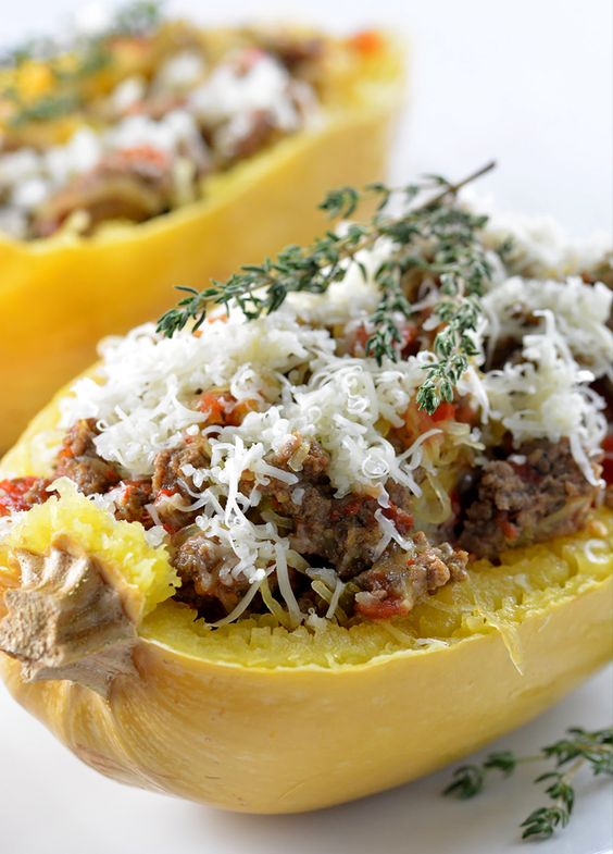 Instant Pot Spaghetti Squash Boats with Sausage