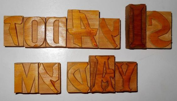 Nicely Hand Craft Letterpress Today Is My Day Wood Type Printers Block typograph