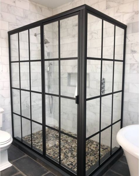 L1631 With Gridworks Shower Doors Corner Shower Doors Glass