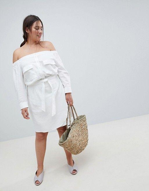 ASOS Curve | ASOS DESIGN Curve - Robe courte en lin à épaules dénudées et ceinture