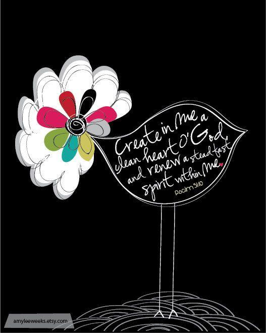 Scripture Art, Create in Me,  - Christian art (8x10). $20.00, via Etsy.