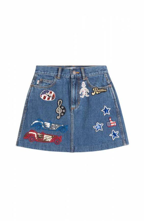 Jupe courte en jean originale Marc Jacobs brodée d'écussons style americain