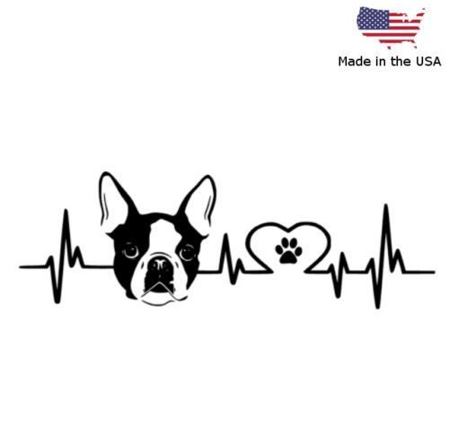 Boston Terrier Love Pulse Vinyl Decal Car Bumper Window Sticker