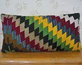 Rustic art deco Kilim pillow Turkish pillow Wool Cushion Throw Pillow kilim lumbar pillow accent throw unique garden decor outdoor pillow