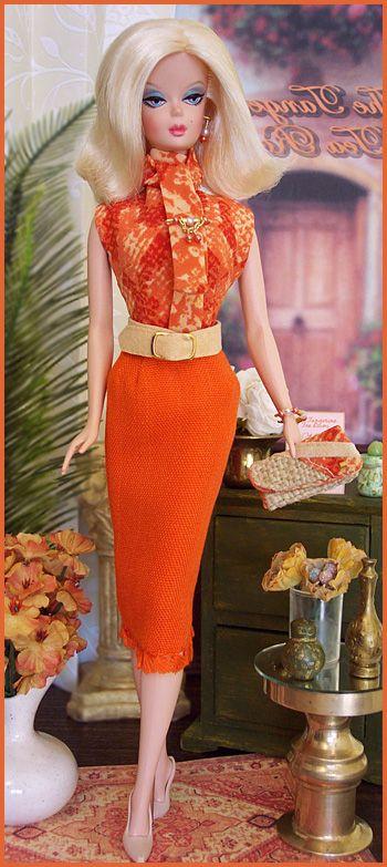 Silkstone Barbie wearing The Tangerine Tea Room by Great North Woods Design