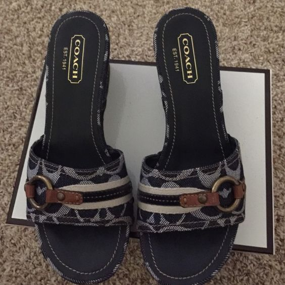 Coach shoes Coach shoes, never been worn, size 8, medium width, dark denim, comes with original box. Coach Shoes Wedges