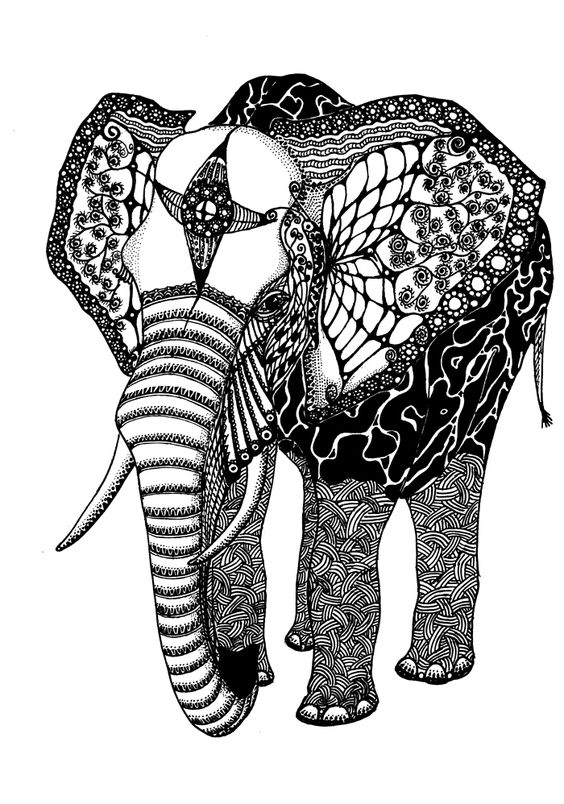 Elephant Abstracts Abstract Elephant Drawing Art