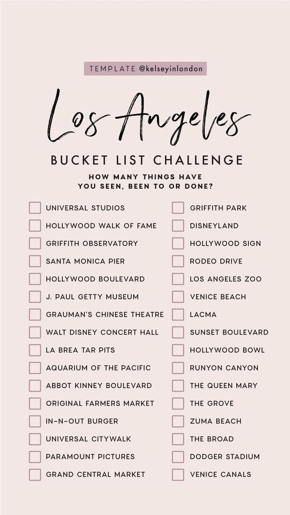Top things to do in Los Angeles - Los Angeles Bucketlist - Instagram Story Templ...