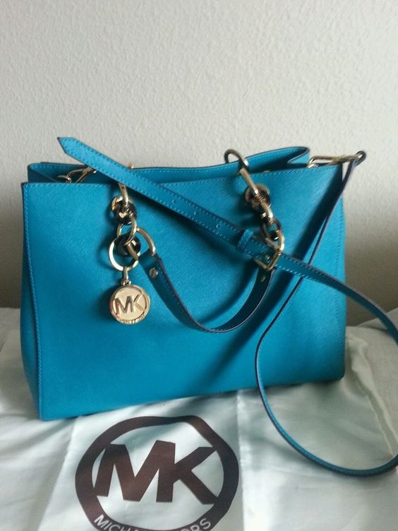 replica bags prada - MICHAEL BY MICHAEL KORS TURQUOISE CYNTHIA SAFFIANO LEATHER TOTE ...