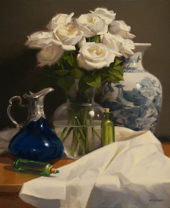 Roses & Glass by Laurie Kersey Oil ~ 24 x 20
