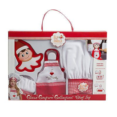 Elf on the Shelf Claus Couture Collection Chef Apron Set Kids Dress Up Holiday