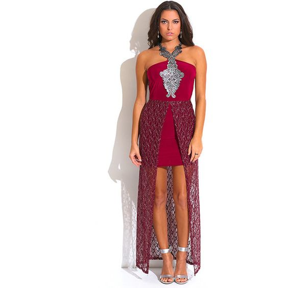 Burgundy red metallic lace high low slit fitted formal evening... ($25) ❤ liked on Polyvore featuring dresses, red, red dress, white lace dress, red evening dresses, white cocktail dresses and red cocktail dress