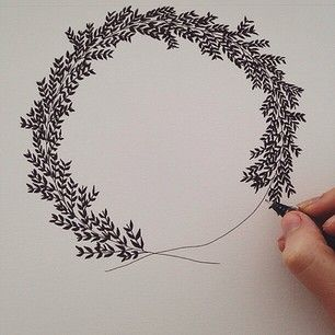 Wreath.: Doodles And Simple Drawing, Christmas Illustration, Simple Pen Drawing, Hand Drawn Christmas Card, Zentangle Christmas Card, Wreath Doodle