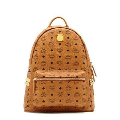 MCM Medium Stark Side Studded Backpack In Brown
