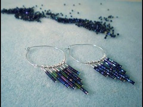 DIY Seed Bead Dangle Hoop Earrings