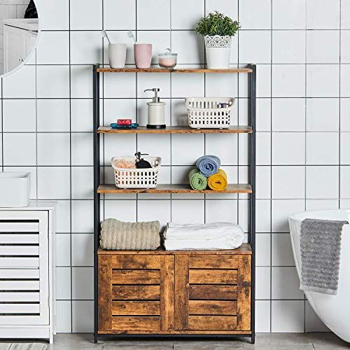 Amazing Offer On Kicode Bathroom Storage Cabinet Industrial Storage Rack 4 Tiers Shelves Storage Cabinet Wood Looks Accent Furniture Floor Storage Organize In 2020 Storage Cabinet Shelves Wood Storage Cabinets Bathroom Storage Cabinet
