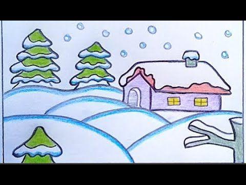 رسم منظر طبيعي سهل لفصل الشتاء والثلوج بالرصاص رسومات سهلة وجميلة Youtube Art Fictional Characters Character