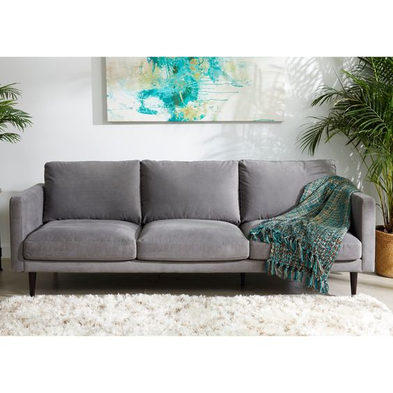 Carson Carrington Hattarvik Mid Century Modern Grey Fabric Track Arm Sofa 32 Inches H X 90 Inches W X 37 5 Inches D Danish Modern Couch Modern Couch Sofa