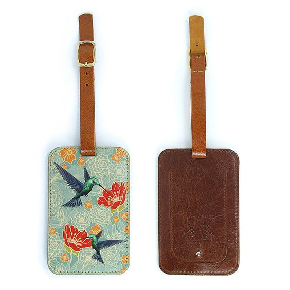 Luxury Leather Luggage Tag  Hummingbirds in floral by tovicorrie, $55.00
