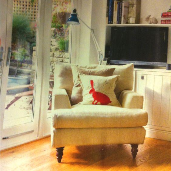 Lovely armchair -- Jackson armchair in House linen, sofa.com. Helen Minns cushion. Ideal Home, march 2012, p.26