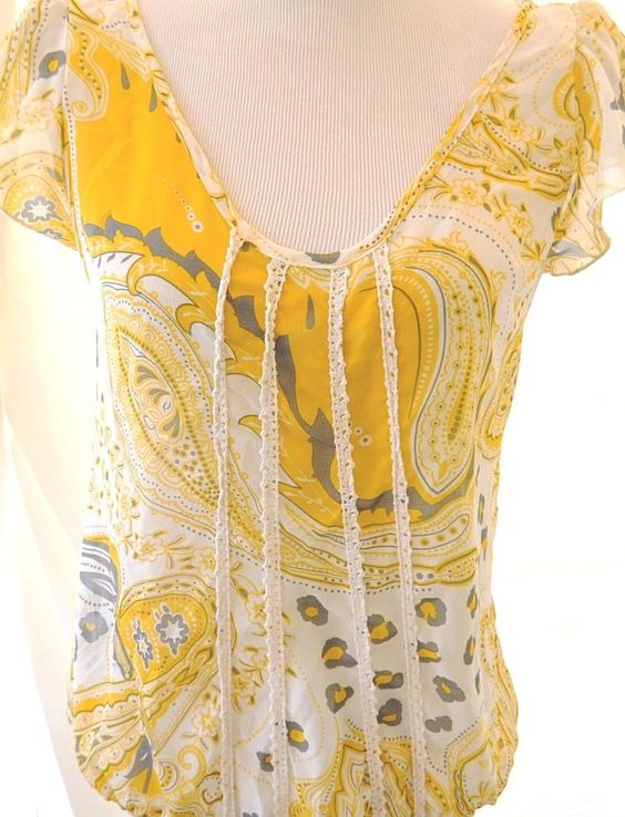 Women's Love Squared Sheer Floral Blouse Top Short Sleeve Lace Detail Yellow M #LoveSquared #Blouse #Career