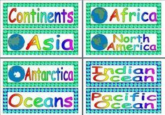 Free printable labels for continents and oceans of the world.