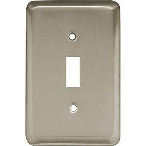 Brainerd Rounded Corner Single Switch Wall Plate, Satin Nickel