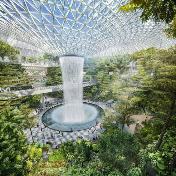 moshe safdie's jewel changi airport nears completion in singapore