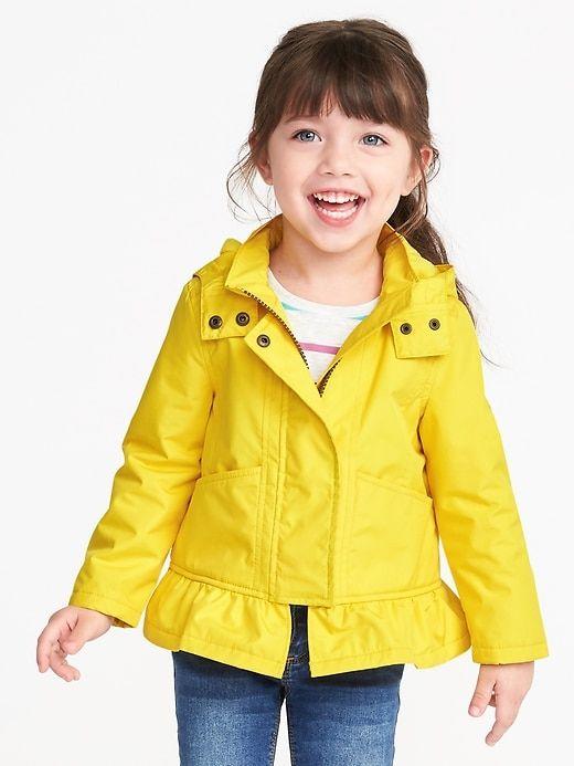Water Resistant Peplum Rain Jacket For Toddler Girls Toddler Girl Jackets Toddler Jacket Toddler Coats Girl