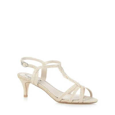 Debut Gold glittery mid heeled sandals- | Debenhams | My favourite ...