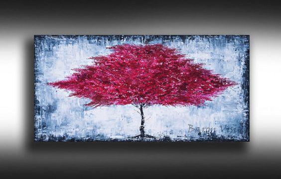 rojo gris abstracto pintura pintura acrílica rojo pintura rojo lona arte árbol Original pared arte hogar oficina decoración Barón Visi x