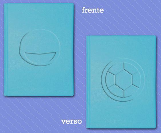 Caderno Squirtle  Capa dura, couro sintético azul, relevo na capa (frente e verso), tamanho A6, 80 páginas