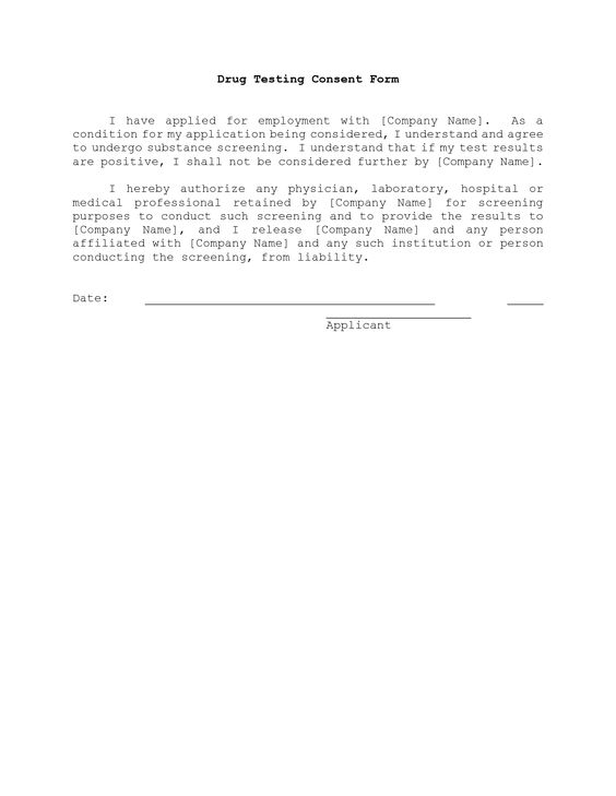 Drug Testing Consent Agreement - Template \ Sample Form Biztree - printable release form