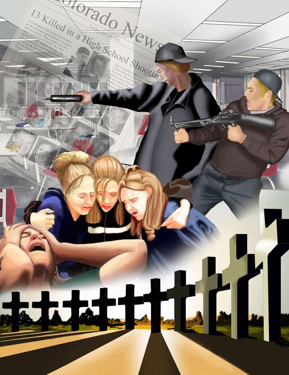 This is a painting I did of the Columbine High School Shooting. Done in photoshop.