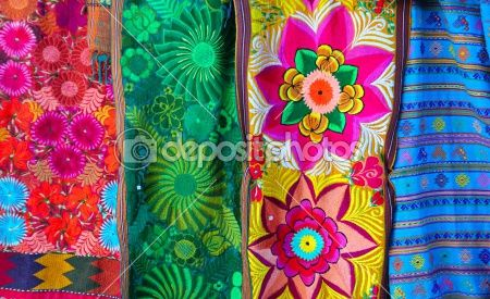 Mexican colorful serape traditional embroidery by TONO BALAGUER SL - Stock Photo