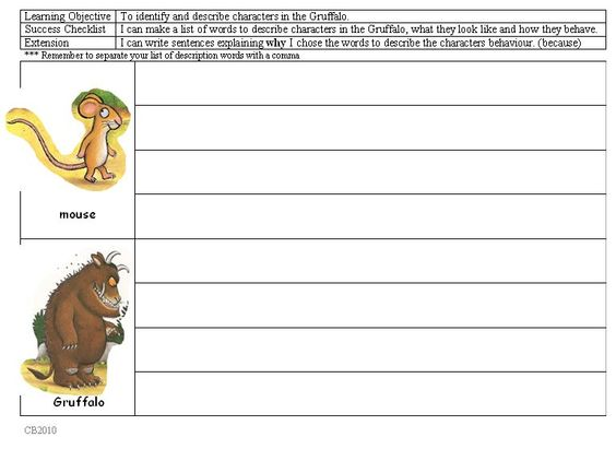 character study for gruffalo illustrated activity to do character study can be used as a. Black Bedroom Furniture Sets. Home Design Ideas
