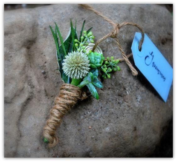 Groomsman boutineer: Echinops ritro, senecio greyii, blue eryngium, succulent cuttings, and seeded eucalyptus.