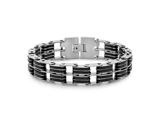 Stainless Steel and Black Rubber Bicycle Chain Bracelet for $16.99