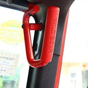Ruicer Hard Mounted Red Solid Steel Front JK Jeep Grab Handles for Jeep Wrangler JK