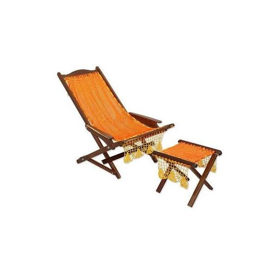 NOVICA Folding Deck Chair and Footstool with Maya Hammock Fabric (¥28,440) ❤ liked on Polyvore featuring home, outdoors, patio furniture, hammocks & swings, homedecor, outdoor furniture, outdoor living, yellow, novica and fabric hammock