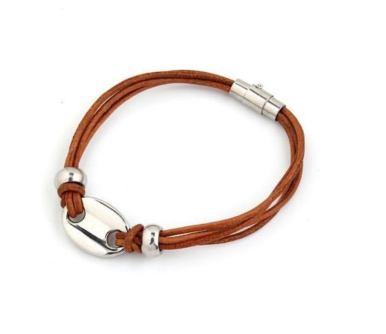 Genuine Leather Wrap Bracelet with Magnetic Clasp and Stainless Steel Bead