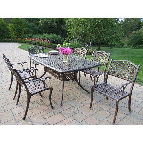Mcgrady 7 Piece Dining Set In 2020 Garden Patio Furniture Patio 7 Piece Dining Set