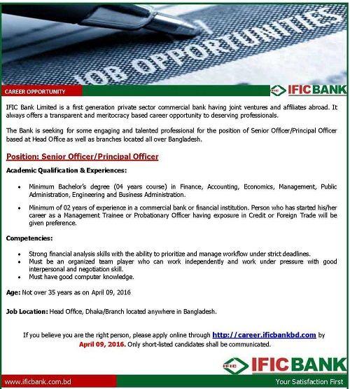 ific bank executive job circular 2018ific bank