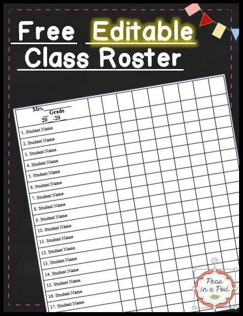 Class List Template Editable Free Teacher Grade Book Grade Book Template Class Roster
