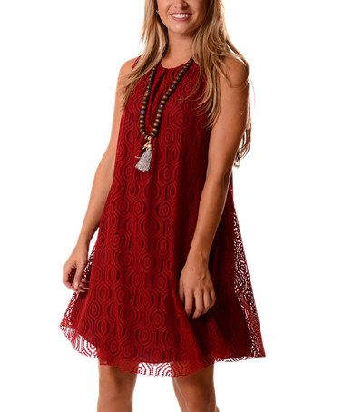 Another great find on #zulily! Red Geometric Lace-Overlay Shift Dress #zulilyfinds
